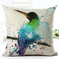2016 High Quality Creative Fashion Colour Bird Houseware Floral Throw Pillow Cojines Chair Cushion Almofadas Cotton Linen Square