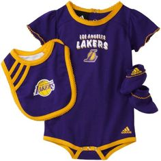 NBA Infant Los Angeles Lakers Girls Bib & Bootie Set - R228Tela (Regal Purple, 12 Months) Even The Youngest Fan Can Show Their Team Support In This Officially Licensed Set By Adidas.  A Feminine Onesie With Matching Booties & Bib Will Make Her The Star Of The Night.