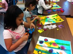 May Showers Bring May Tissue Paper Collage Flowers? See 3rd Grade Lesson In Progress