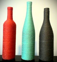 Coral Yarn Wrapped Wine Bottle by KoliekaiKreations on Etsy, $10.00