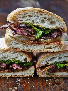 Next Level Steak & Onion Sandwich Comfort Food Jamie Oliver Steak Sandwich Recipes, Best Steak Sandwich, Steak And Onions, Beef Recipes, Cooking Recipes, Good Food, Yummy Food, Skirt Steak, Onions