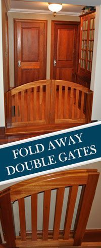 """Pet Gates, Pet Doors, Custom Pet Gates, Room Dividers - Handcrafted custom made solid wood pet gates and room dividers can be made to any size. Standard height is 32"""". Simply measure your opening and we will custom make your gate to the size you need."""
