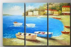 100% Hand Painted Oil Painting Seashore Town Beach Boat Large Modern Abstract Wall Art Deco Home Decoration (Unstretch No Frame) by galleryworldwide, http://www.amazon.com/dp/B008ZA5M5A/ref=cm_sw_r_pi_dp_5udUrb0KAKDX8