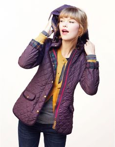 MARCOTTE Womens Quilted Jacket with Floral Lining and detachable hood. Love this, great jacket lining.