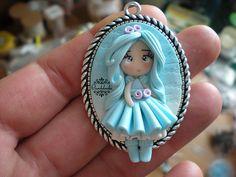 """""""Azzurra"""" Polymer clay chibi doll cammeo #fimo #polymerclay #handmade #chibi #doll #cammeo"""