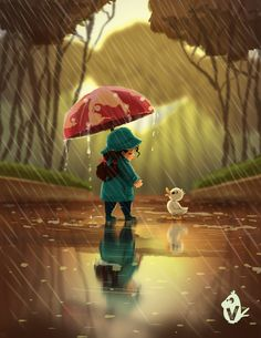 Nature and technology Cute Cartoon Pictures, Cute Cartoon Girl, Cartoon Pics, Cute Pictures, Beautiful Pictures, Cute Photography, Nature Photography, Rain Art, Cute Paintings
