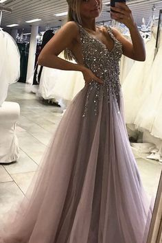 2017 v-neck backless grey tulle sparkle beaded long prom dress, PD4154