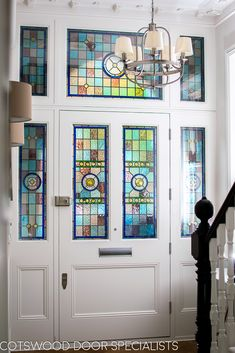 Extra wide Victorian front entrance door and frame - Cotswood Doors Front Entrances, Painted Front Doors, Victorian Door, Glass Front Door, Victorian Front Doors, Entrance Doors, Front Door Inspiration, Door Glass Design, Stained Glass Door