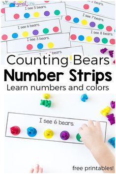 These counting bears number strips are a hands-on way for toddlers and preschoolers to learn numbers, counting and even colors.