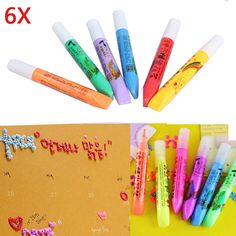 6pcs/set DIY Stationery Popcorn Paint Pen Puffy Embellish Decorate Bubble Graffiti Paint Brushes 2016 (Random Color)