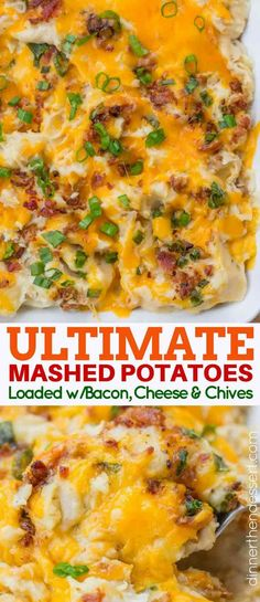 Loaded Mashed Potatoes are creamy and buttery, topped with cheddar cheese, bacon and scallions. They're a breeze to make and perfect for making ahead.