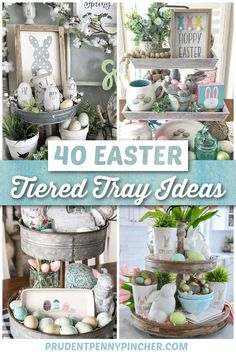 Spring Crafts, Holiday Crafts, Galvanized Tiered Tray, Easter Table Decorations, Holiday Decorations, Hoppy Easter, Tray Decor, Easter Crafts, Easter Ideas