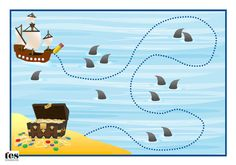 A set of activities, with a pirate theme, designed to be laminated and used with a dry wipe marker. Use them to help pupils develop pencil skills. Suitable for workstation use. Preschool Pirate Theme, Pirate Activities, Pirate Games, Nursery Activities, Toddler Learning Activities, Interactive Activities, Preschool Themes, Teaching Activities, Preschool Crafts