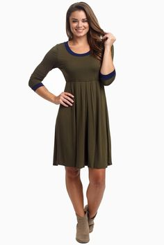 Olive-Navy-Trim-3/4-Sleeve-Dress