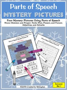 Get ready for some winter-themed fun with my Parts of Speech Mystery Pictures JANUARY SET #1. YEAH- More mystery pictures for the older kids.  Includes: Nouns, Verbs (Past, Present, Future), Adjectives, and Adverbs. ($)
