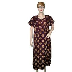 Resort Wear Blue Marron Cotton Printed Kaftan Caftans (Apparel)