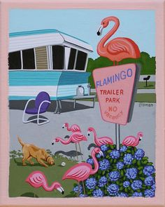 Mid Century Modern Art by Linda Tillman- Pink Flamingos in Florida, Mobile Home / Travel Trailer Park #pinkflamingo