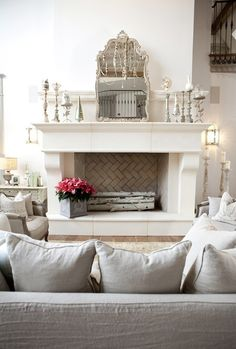 tiles inside fireplace Private Residence - traditional - Living Room - Salt Lake City - Alice Lane Home Collection French Living Rooms, My Living Room, Home And Living, Living Room Decor, Living Spaces, Design Lounge, Lounge Decor, Style At Home, Alice Lane Home