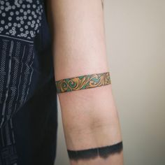 Gold and turquoise band   Studio by Sol @soltattoo on Instagram