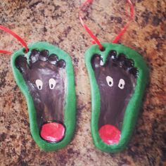 Cashton's reindeer footptints salt dough ornaments 2013