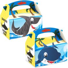 Sharks - Empty Favor Boxes Includes (4) empty favor boxes. Weight (lbs) 0.4 Length (inches) 10 Width (inches) 6 Height(inches) 0.5