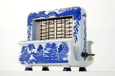$500  rare blue willow toaster