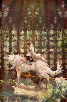 Illustration art girl wolf Princess Mononoke painting digital art mononoke yaphleen spear The Princess Mononoke