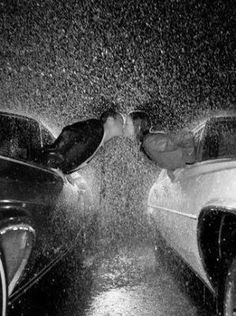 """kissing in the rain. cute idea for engagement/save the date photo. """"We're getting married, come rain or come shine"""". Great idea for one getting married. Kissing In The Rain, Couple Kissing, No Rain, Before Wedding, Foto Art, Ever After, Rainy Days, Rainy Night, Wedding Pictures"""