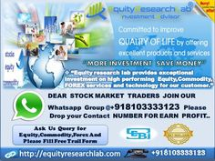 https://flic.kr/p/T7jct6 | equity research lab special offer 20 march | Stock Future Tips start from 16000 it completely based on research for intraday market moment with 80%-85% accuracy up to 3-4 calls/day will be provided with two targets one stop loss. The calls accuracy can be judged in our one day free trial.