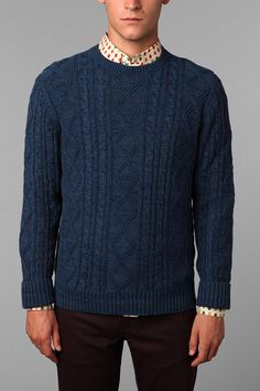 CPO Cable Crew Sweater | Urban Outfitters  #fashion #mensfashion #mens #fashion #urban #urbanfashion #urbanstyle #style #trendsetter #menswear #chicagofashion  www.ppmapartments.com