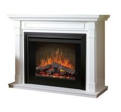 """Dimplex - Home Page » Fireplaces » Mantels » Products » 33"""" Fireplace Mantel Package with Logs in White"""