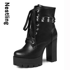 27.59$  Buy here  - New 2016 Autumn Martin Boots Fashion Leather Boots Casual High Heels Platform Shoes Woman Rivets Lace Up Zip Women Boots D35