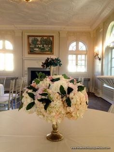Small Blush Pink and White Centerpiece with Brads Leaves, Hydrangea, and Roses - The French Bouquet