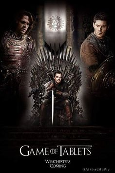 I'm amused that every time I see a GoT/Supernatural crossover it has Crowley on the Iron Throne. Supernatural Crossover, Supernatural Bloopers, Supernatural Tattoo, Supernatural Fan Art, Supernatural Imagines, Supernatural Wallpaper, Supernatural Drawings, Fandom Crossover, Winchester Brothers