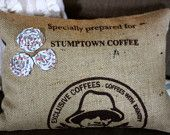 upcycled burlap coffee bean pillow coverings. www.sophiereena.etsy.com