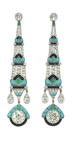 emerald onyx diamond and turquoise earrings. 3 inches long set in platinum. The diamonds are rose cut.