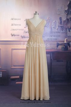 Straps A-line V-neck Floor Length Chiffon Bridesmaid Dress, Long Prom Dress