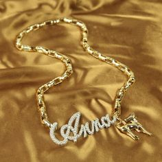 Personalized Gold Plated Chain Rhinestone Letters Deer Pendant Necklace DC120N978 $30.00