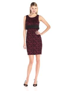 Jax Women's Textured Velvet Pop Top Sheath Dress *** Discover this special product, click the image : black dress