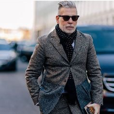 The Daily Look: Speckled #WOWWednesday #NickWooster #thedailylook #suiting #scarved #streetstyle #welldressed #inspiration #thegentlemansdaily