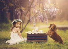 outdoor tea party photoshoot photography boho dachshund weenie dog flower crown little girl