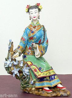 Shiwan-Chinese-Oriental-Ceramic-Woman-Figurine-Statue-Joyful