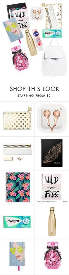 """What's in my backpack "" by queenlionheart ❤ liked on Polyvore featuring Kate Spade, claire's, S'well, ban.do, Nivea, Victoria's Secret and Mansur Gavriel"