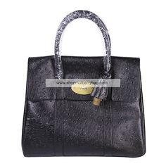 Mulberry Women's Bayswater Leather Ostrich Shoulder Bag Black