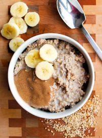 Clean Eating Peanut Butter Banana Slow Cooker Oatmeal - an amazing breakfast recipe made overnight!