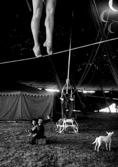 Members of the Ringling Brothers Circus practice in Sarasota, Florida, March In the big tent, aerialist Miss Lola practices on a tightrope as children look on. (Nina Leen—The LIFE Picture Collection/Getty Images) Cirque Vintage, Ringling Brothers Circus, Art Du Cirque, Galerie Creation, Dark Circus, Circus Circus, Circus Tents, Circus Cakes, Circus Party