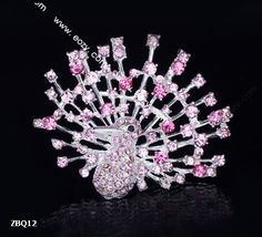 6x5cm Light Pink Shining Trendy Peacock Spread Paved Crystal Lady Pin Brooch Rhinestone