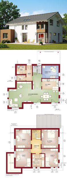 Modernes Satteldach Haus - Fertighaus Evolution 165 V7 Bien Zenker - Einfamilienhaus bauen Grundriss mit offener Küche Erker Übereck Fenster - HausbauDirekt.de