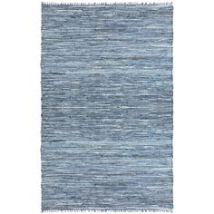 "Blue Matador Leather & Denim Dhurry (21""x34"") Rug, Size 2' x 3' (Cotton, Solid)"