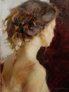 ✿ Daniel Gerhartz: title unknown [portrait of a young woman, auburn hair tousled]. Oil on canvas. Figure Painting, Painting & Drawing, Figurative Kunst, Tableaux Vivants, Portrait Art, Beautiful Paintings, Art Oil, Love Art, Oeuvre D'art